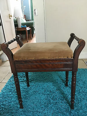 Lovely Antique Wooden Piano Stool, Velvet Cushioned Seat, Storage Compartment