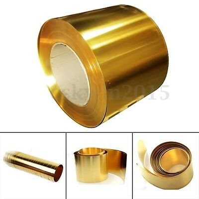 Brass Metal Thin Sheet Foil Plate Roll 0.02 x 100 x 1000mm Metalworking Supplies