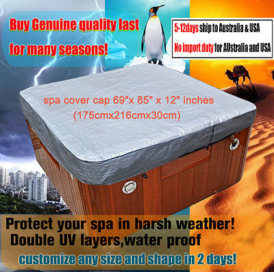 "spa cover cap 69""x 85"" x 12"" inches (175cmx216cmx30cm) hot tub jacket"