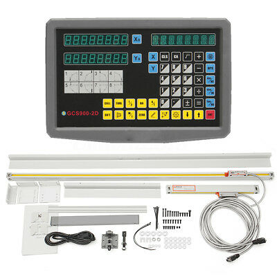 2 Axis Digital Readout For Electronic Milling Lathe Machine w/ Linear Scale Set