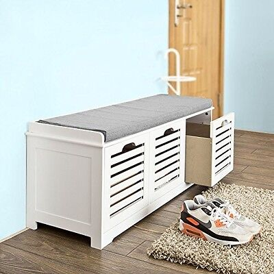 Hallway Storage Bench Seat Shoe Cabinet With Drawers Wooden White Home Furniture