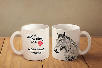 "Ardennes Horse - ceramic cup, mug ""Good morning and love "", CA"