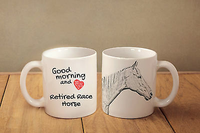"""Reited Race Horse - ceramic cup, mug """"Good morning and love """", CA"""