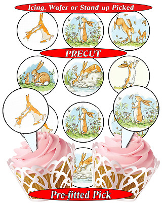 12 Guess How Much I Love You edible cupcake toppers, precut, 2 sizes, 8 choices