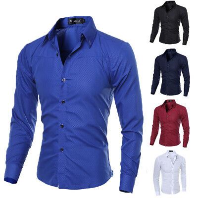 Mens Slim Fit Luxury Stylish Long Sleeve Fashion Casual Dress Shirt T-Shirt Tops