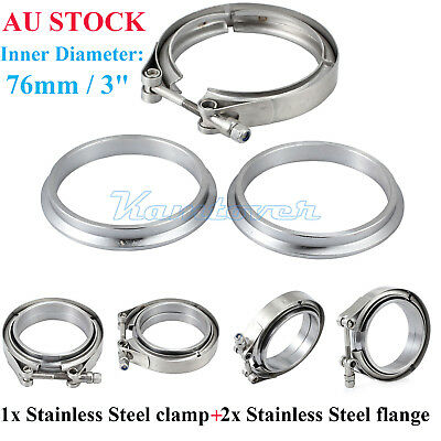 """Stainless 3"""" 76mm Inch V-band Clamp Turbo Downpipe Female Male Flange Kits AU"""