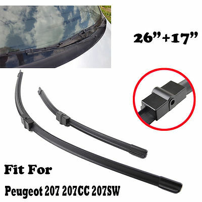 17''+26'' Windshield Wiper Blades Front Window Fit For Peugeot 207 207CC 207SW