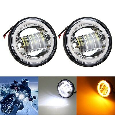 "2x 4-1/2"" LED Auxiliary Spot Fog Passing Light Angle Eyes For Harley Motorcycle"