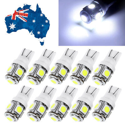 10x New T10 Wedge 5SMD Parker Number Plate LED Bulb W5W 194 168 131 White 12V