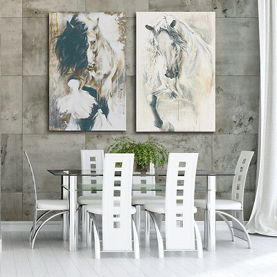 2Pcs Horse Hand-Painted Canvas Painting Print Picture Art Wall Decor Unframed