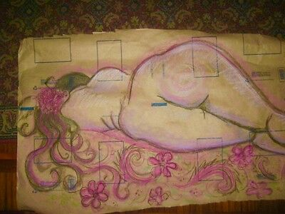 ORIGINAL PASTEL & INK DRAWING , shabby chic, RECYCLED PAPER, UNFRAMED By J Lewis