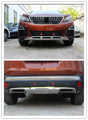 2* Front + Rear Bumper Skid Protector Guard Cover For PEUGEOT 3008GT 2016 2017