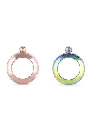 Charade: Bracelet Flask 90ml - Rose Gold and Rainbow, Set of 2. Free Delivery