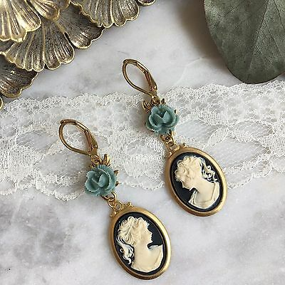Vintage Chic Antique Black Cameo Gold Earrings with Teal Green Flower Leaf