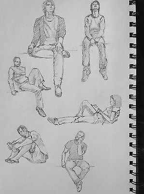 People Sketch in Pencil A4 Paper Size Original Sketch Book Art Drawing