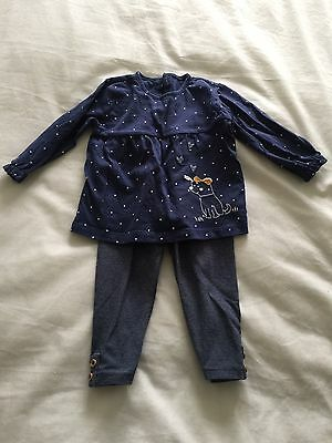 M&S Girls Navy Outfit Set (6-9 Months)