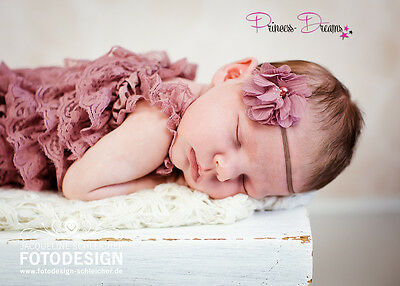 Princess-Dreams 258 Baby Haarband Stirnband Blume altrosa Taufe Fotoshooting
