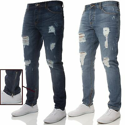 New Mens ENZO Slim Fit Jeans Distressed Ripped Leg Zips Blue All Sizes Waist