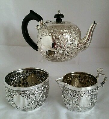C19th sterling silver Batchelor Tea service. London 1894.By J.Wakley & F Wheeler