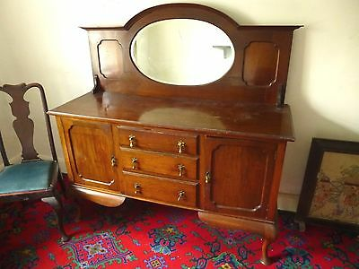 Antique SIDEBOARD EDWARDIAN Mahogany with Mirror Back early 20C.