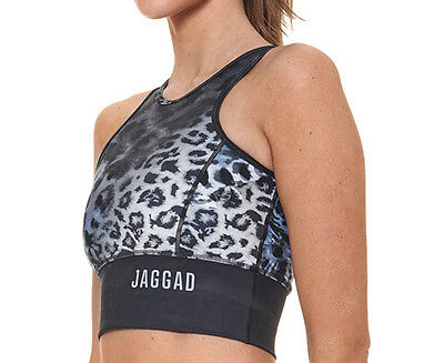 JAGGAD Women's Midnight Tiger Performance Crop - Black/Leopard