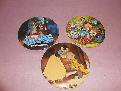 """Vintage lot of 3 Very Large 6"""" Round Disney Pins Snow White & Lady and the Tramp"""