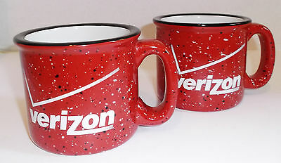 2  VERIZON LOGO MUGS Heavy Ceramic Coffee Soup Speckled Red 12oz