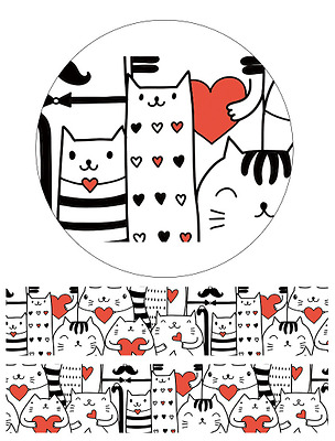 Washi Tape - Love Cats 15mm x 7m Decoration Planner Tape Cat Black Red Hearts