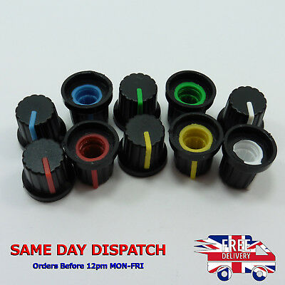 5 Color Rotary Volume Control Plastic Potentiometer Knob 6mm Knurled Shaft Caps