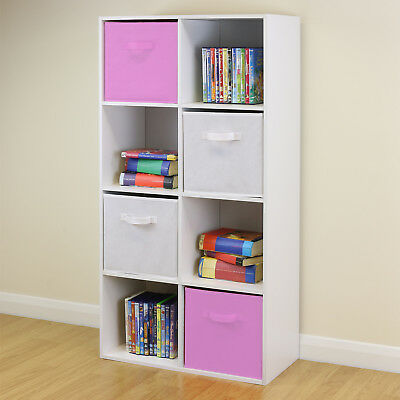 White 6 Cube Kids Toy Games Storage Unit Girls Boys Bedroom Shelves 3 Pink Boxes