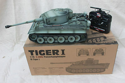 Taigen 1/16 2.4 GHz RC German Tiger 1 Early Production Grey BB Tank Metal Tracks