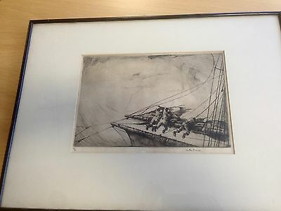 Original signed etching by Arthur Briscoe Title BritishTyphoon, The Burst Topsai