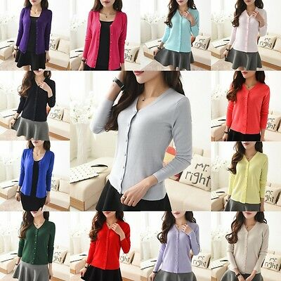 Lady Long Sleeve Cotton Knit Cardigan Button Down Sweater Casual Outwear Blouse