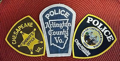 Lot of 3 Virginia Police Patches. 2 Vintage Patches, 1 new Patch
