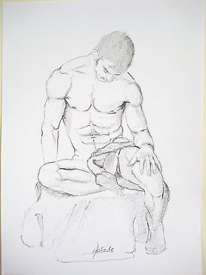 Male Nude Pencil Drawing,Figurative Art,Seated model,Drawing on paper,Original