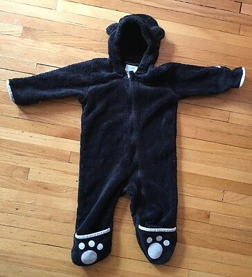 Infant Boys Girls COLUMBIA Fleece Bunting, Black Bear, Paws Ears Size 12-18 mont