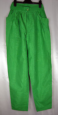 Ladies Vintage High Waisted Green Trousers - Size 8