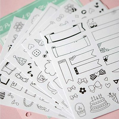 Paper Sticker Scrapbook Calendar Diary Planner DIY Sticky Photo Album Decor