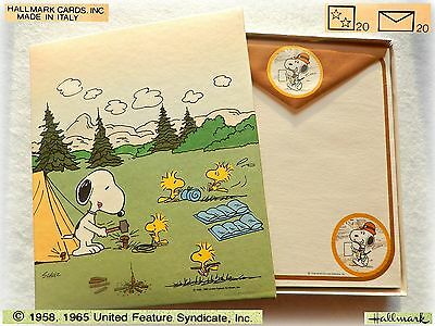 ⛺ SNOOPY VINTAGE stationery letter set papel papeis carta lettere 1980 Camping