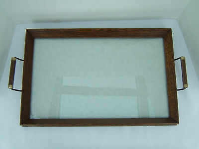 Vintage Wooden Serving Tray Glass Top for You to Redesign ~ New felt & Bumpers