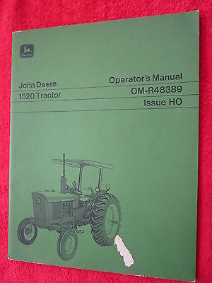 Vintage Original John Deere 1520 Tractor Operators Manual