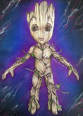 Baby Groot Original Fan-art Drawing. A4. Guardians Of The Galaxy