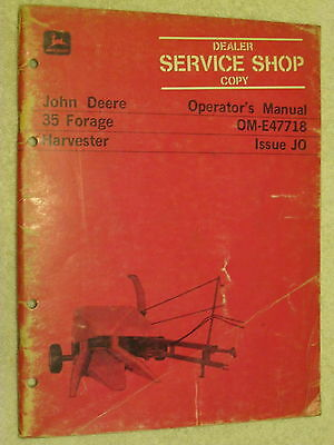 Original John Deere Jd 35 Forage Harvester Operator's Manual