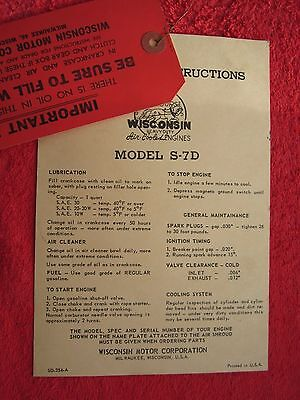 Vintage Original Wisconsin S-7D Engine, No Oil & Operating Instr. Paper Tags
