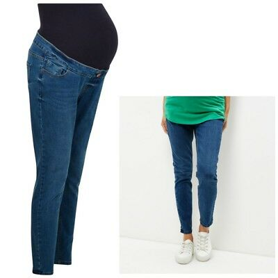 Maternity New Look Over The Bump Jeans Blue Washed Sizes 8 - 18 Leg 26 - 29