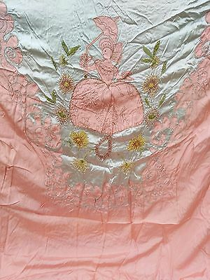 6pc VINTAGE EMBROIDERED FRENCH CHENILLE ON SATIN BEDSPREAD WOMAN & UMBRELLA