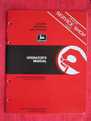 1985 John Deere Double Windrow Attachment Operator's Manual