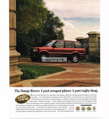 1998 Land Rover RANGE ROVER Red part croquet player part rugby thug Vtg Print Ad