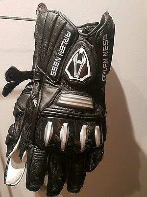 Arlen Ness Slayer Leather Gloves Black White Road Bike Motosport size XL