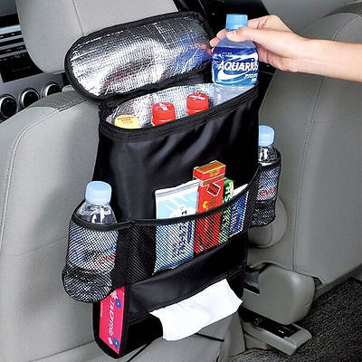 Car Van Back Seat Multi-Pocket w/ Cool Hot Thermal Bag Insulation Travel Storage